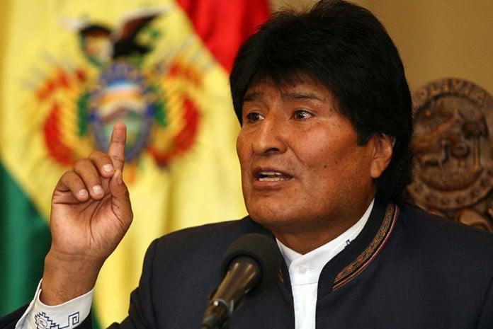 Evo Morales em La Paz (Bolívia) em 28 de Agosto de 2013