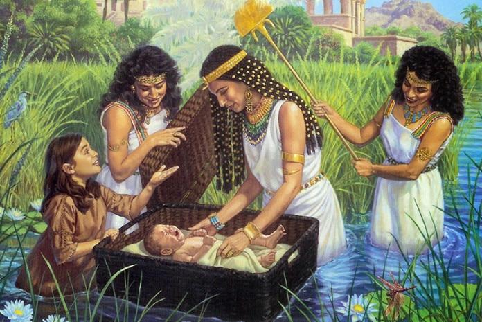 Moisés a ser retirado da pequena cesta