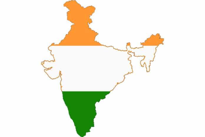 Mapa e Bandeira da Índia