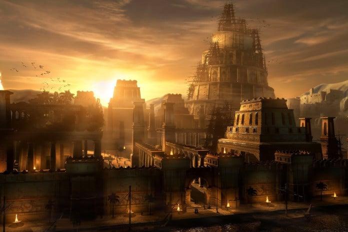 Imagem da antiga Babilónia, com a Torre de Babel em construção