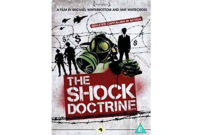 Capa do DVD do documentário: The Shock Doctrine [A Doutrina de Choque] (2009)