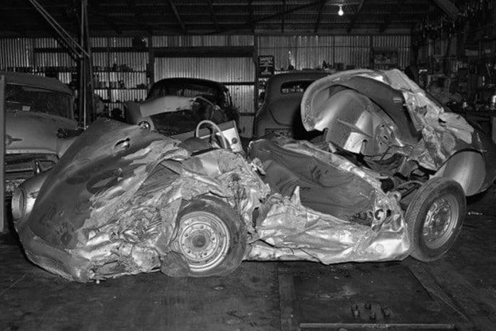 O Porsche de James Dean após o acidente
