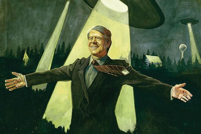 Pintura alusiva ao Presidente Jimmy Carter e os OVNIs