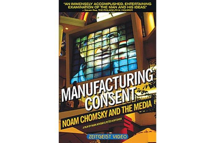 Capa do DVD do Documentário «Manufacturing Consent: Noam Chomsky and the Media [Produção do Consenso]» (1992)