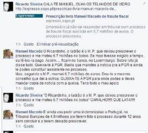 Conversa de Manuel Macedo no Facebook