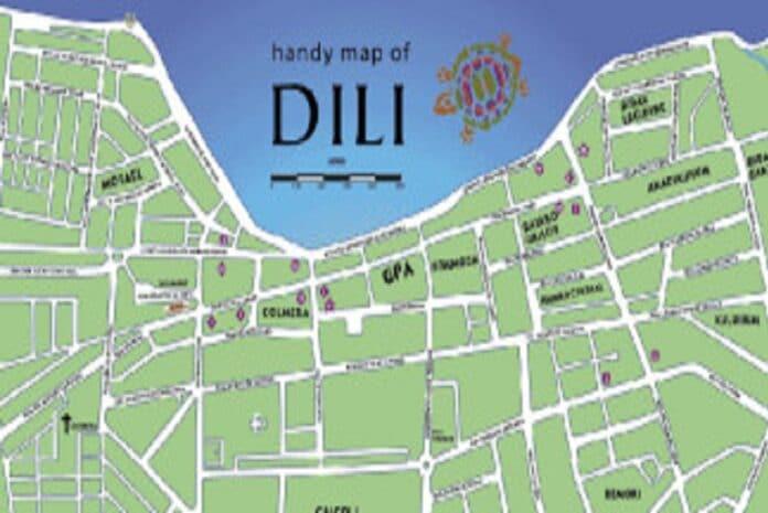 Mapa de Dili, a capital de Timor Leste
