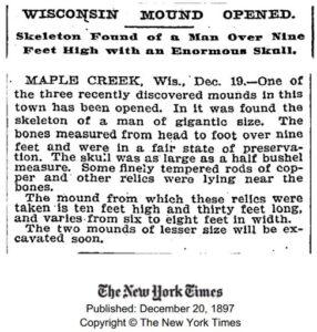 «Esqueletos de Gigantes Encontrados» relatado no The New York Times