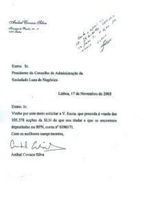 Cavaco Silva a pedir à SLN a venda das suas acções depositadas no BPN