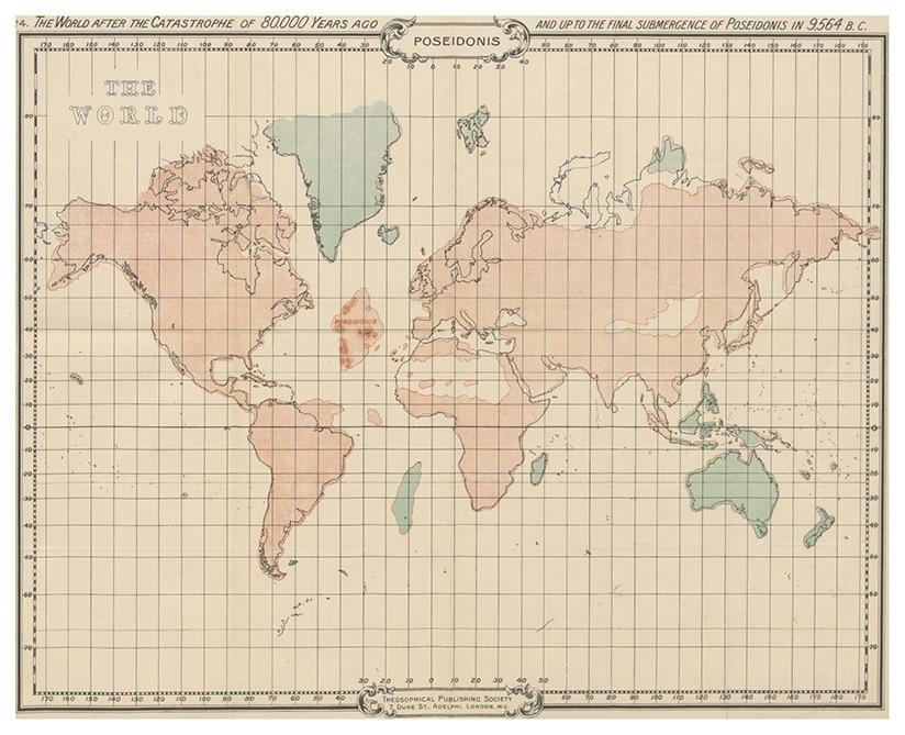 Uma das últimas configurações do Mapa da Atlântida, segundo Scott Elliot
