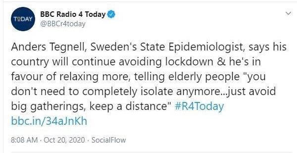 Tweet da BBC Radio 4 Today que refere que Tegnell aponta para um maior relaxamento das medidas