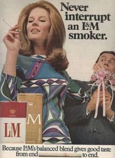 «Never interrupt an L&M smoker.»