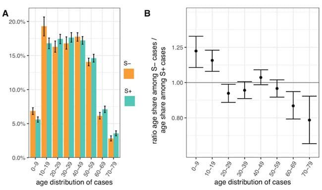 Gráfico 1. Distribuição por idades do S-Gene Positivo vs. S-Gene Negativo