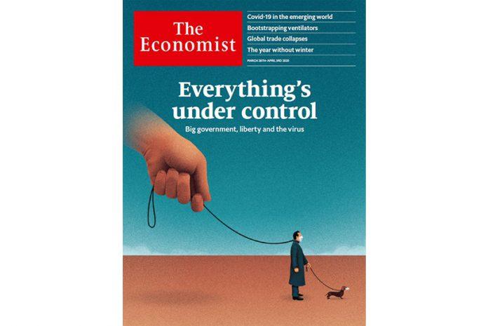 Capa da revista The Economist de Março de 2020: «Está tudo debaixo de controlo»