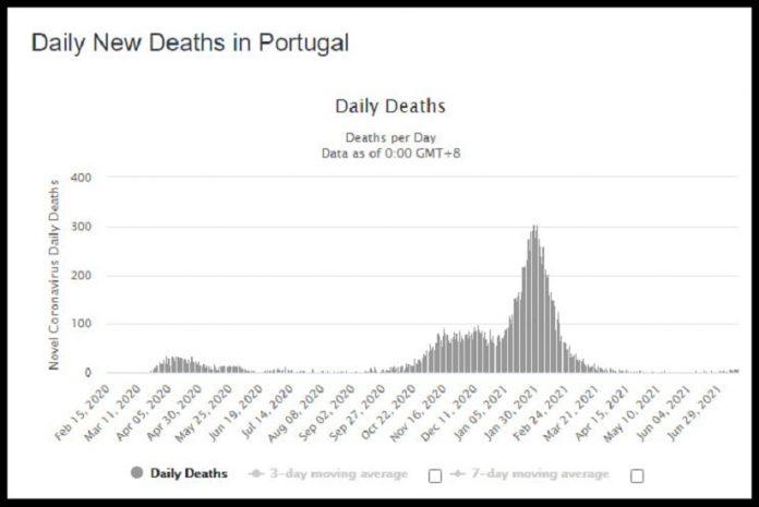 Mortalidade em Portugal entre Fevereiro de 2020 e Junho de 2021 por COVID-19